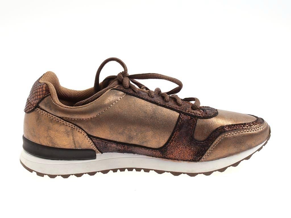 Rushour trendige Sneaker bronze Schnürschuhe Schnürer glänzend