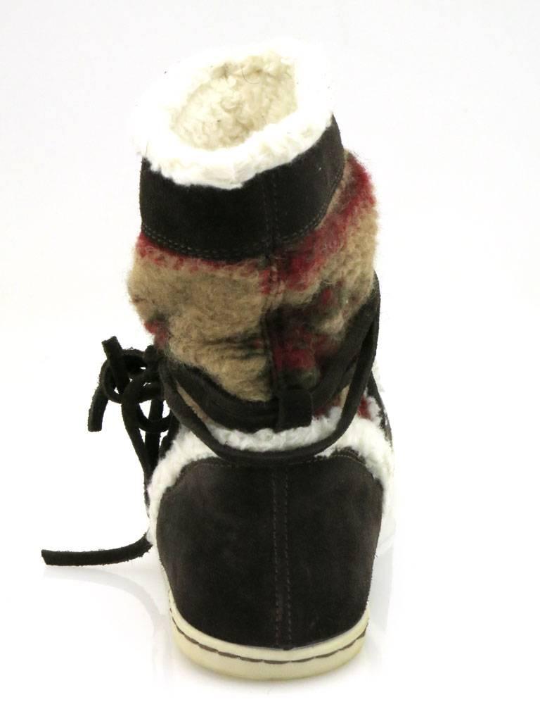 Hot Ice schoko Stiefeletten Damenschuhe Kunstfell Schuhe schoko Ice bunt 1741 Boots cd6bae
