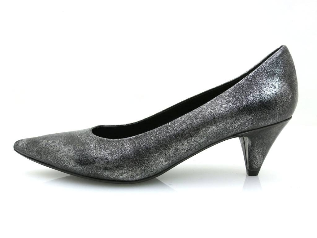 YKX & silber Co. Luxuspumps Leder Schuhe Damen Pumps silber & schwarz 2005 76f899