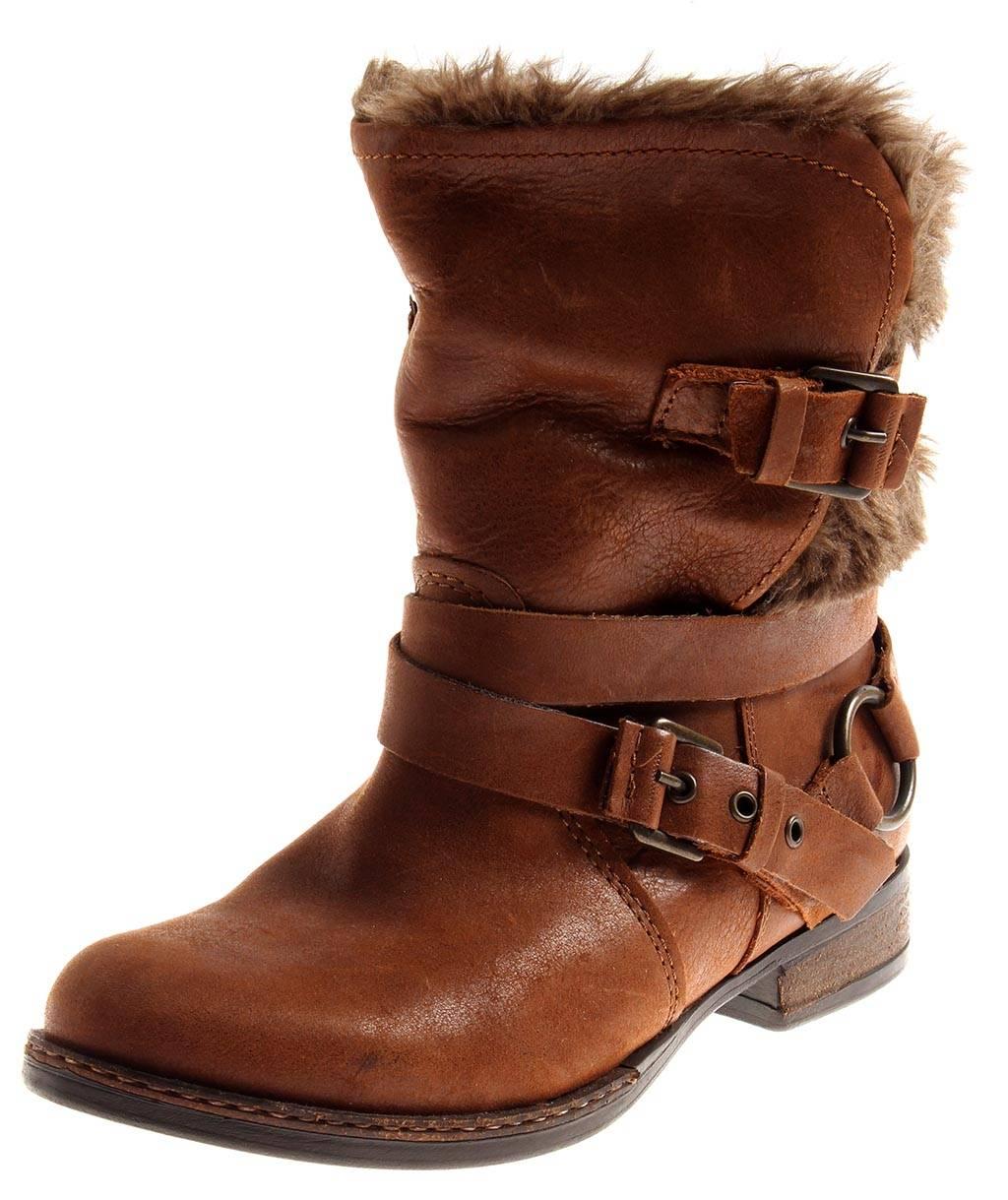 Bullboxer warme gefüttert Lederstiefelette Leder Schuhe Damen gefüttert warme cognac 2292 768455