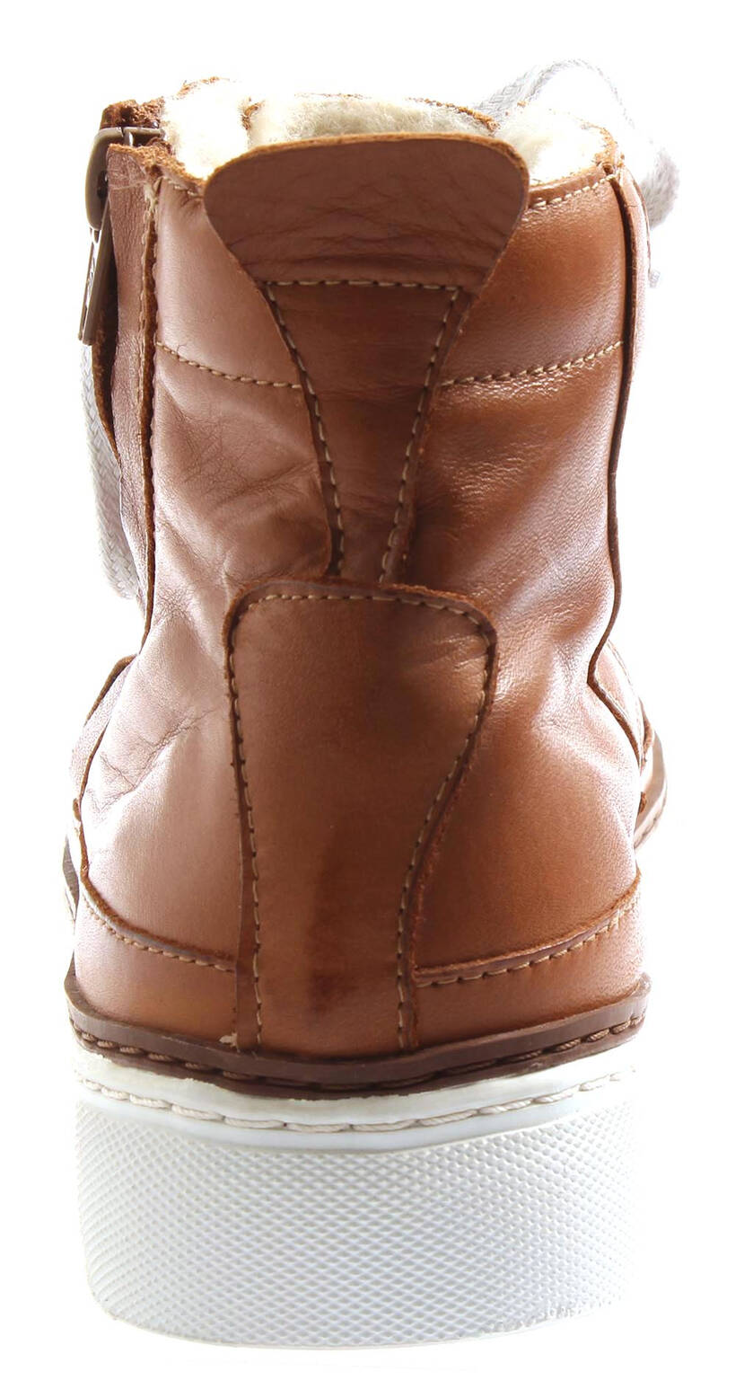 Isabelle Chaud Baskets Montantes Chaussures Femme Femme Chaussures en Cuir Winterbootie Cognac d9df48