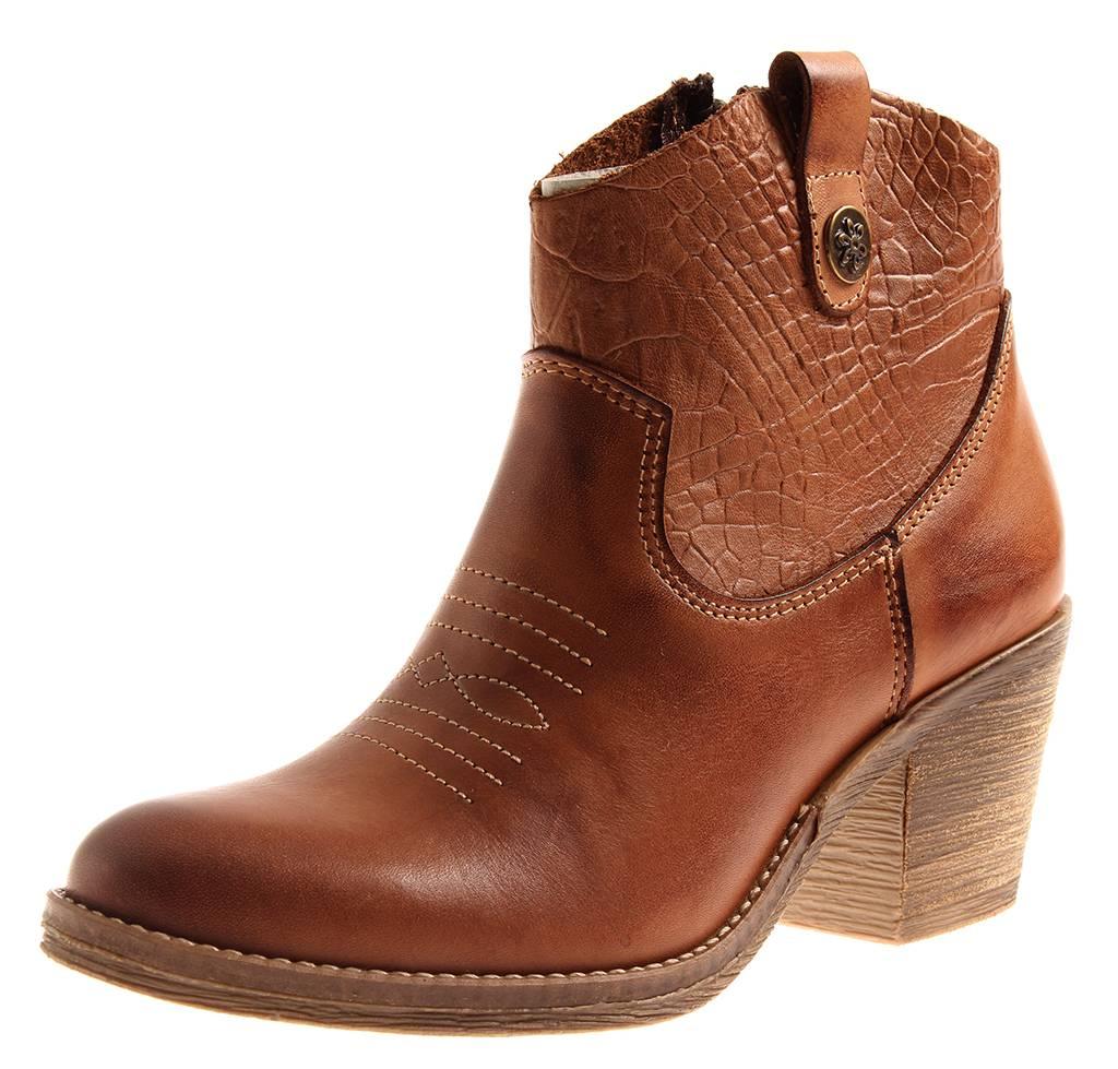 Details zu Kathamag 295 Damen Lederstiefelette Leder Cowboy Boots Stiefelette