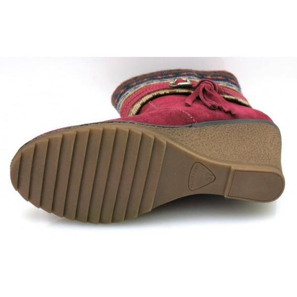 Tamaris Keilstiefelette Damenschuhe Keilabsatz Wedge Schuhe 1-25412-39 Merlot
