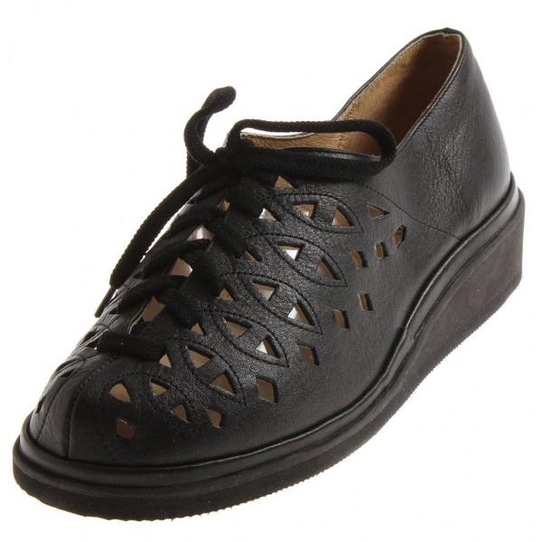 Rott verstellbare Schnürschuhe in schwarz